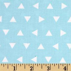 Geo Triangle Fabric Remix Tossed Triangles AQUA Kaufman Designer Cotton