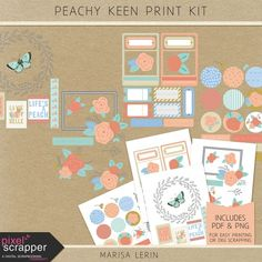 Peachy Keen Print Kit at pixelscrapper Project Life, Digital Scrapbooking, Gallery Wall, Peach, Kit, Make It Yourself, Crafting, Floral, Prints