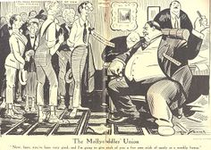 A Man of Family: Liberator Magazine Art, Nov 1918, political cartoon about labor unions