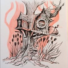 What a lovely tree house (photo credit Dave Mottram) #treehouse #brushpen #penart #illustration