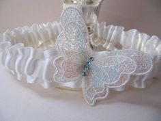 butterfly garters | Ivory wedding Garter, Butterfly garter for brides, Something Blue, for ...