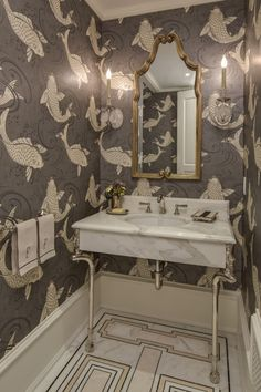 Gorgeous powder room - love the patterned floor and funky wallpaper!  Connecticut Cottages and Gardens  Sept 2015. Designed by Marks and Frantz (responsible for iconic sets in The Devil Wears Prada and the Sex and the City movie)