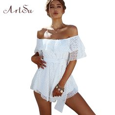 fdfd248ff30 ArtSu Boho White Lace Up Playsuit Sexy Dotted Hollow Out Jumpsuit Short  Romper Women Ruffle 2017