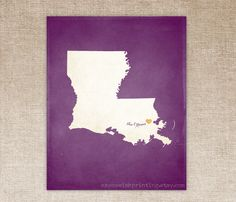 Customized Louisiana 8 x 10 State Art Print, State Map, Heart, Silhouette, Aged-Look Print. $16.00, via Etsy.