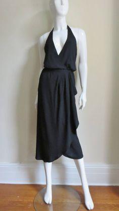 1970s Halston Plunge Wrap Silk Halter Dress