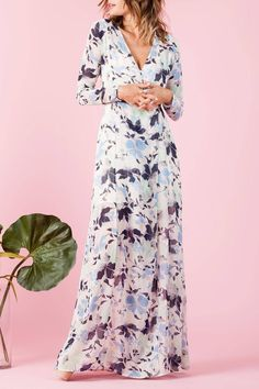 Long sleeve wrap dress with snap button. Comes with an adjustable slip underneath.   Floral Wrap Dress by lucca couture. Clothing - Dresses - Maxi Clothing - Dresses - Long Sleeve Clothing - Dresses - Floral Hawaii