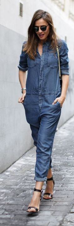 Blue Denim Loose Rolled Cuff Overall by LadyAddict