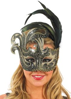 Gold & Black Feather Eye Mask 3149