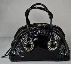 ELIE TAHARI 'Zoe' Retro Style Satchel Handbag in Black Patent Leather by moodsoflife on Etsy