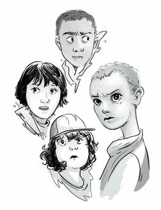 Stranger Things fan art by Lina Draws - Mike Wheeler, Lucas Sinclair, Dustin Henderson, and Eleven
