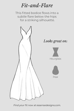 A glossary of wedding dress silhouettes that will help you achieve the bridal vision of your dreams! Learn which dresses compliment your bridal vision. Wedding Dress Sketches, Wedding Dress Styles, Dream Wedding Dresses, Bridal Dresses, Fashion Design Drawings, Fashion Sketches, Hourglass Dress, Wedding Dress Silhouette, Fashion Terms