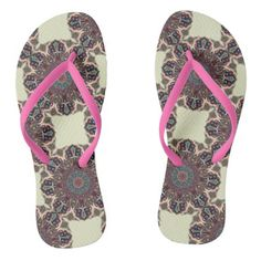 Colorful abstract ethnic floral mandala pattern flip flops - pattern sample design template diy cyo customize