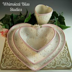 Whimsical Bliss Studios - Ivory & Pink Heart Place Setting