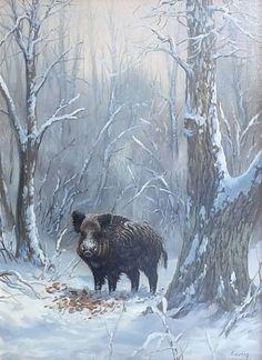 Wild Boar Hunting, Hog Hunting, Wildlife Art, Black Bear, Animal Paintings, Animals And Pets, Art Drawings, Nature, Wild Boar