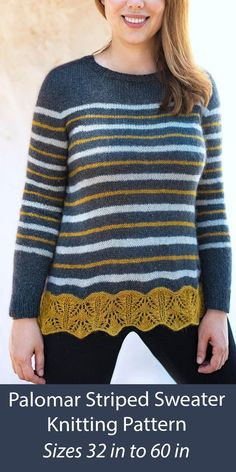 "Striped pullover sweater knitting pattern with a lace border at the bottom and split overlapping back. Sizes Sizes: 32 (36, 40, 44, 48, 52, 56, 60)""/80 (90, 100, 110, 120, 130, 140) cm bust circumference. Worked in one piece from the top down. Designed by Irina Anikeeva."