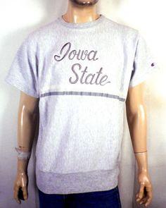 vtg 80s Champion Reverse Weave Warmup Iowa State Cyclones Sweatshirt sewn SZ XL