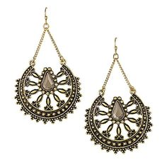 Infinite Stars Earrings | Avon Stand out! The exotic details of the Infinite Stars Earrings will surely turn heads. The burnished brass open work earrings feature a Far Eastern inspired design with a teardrop shaped stone.
