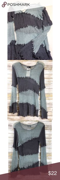 """Tunami Handmade Gray Knit Sweater - One Size Chunky striped handmade knit sweater in shades of gray. It has bell sleeves.  New with tags. One size fits most.  Measurements (flat): Armpit to armpit: 19"""" Waist: 15"""" Bottom hem: 16"""" Sleeve: 27"""" Length: 23"""" Tanami Sweaters"""