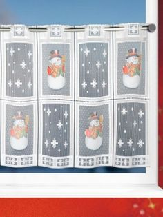 Weihnachtliche Scheibengardinen Schneemann