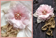 Fabric flower pins made from scraps.