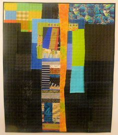 Collages from Tomorrow, 4; ©Debra L. Dixon, 2013  Improvisational Wallhanging using reclaimed fabrics with machine quilting