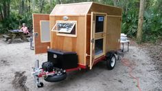 Frugal Way mini camper trailer front view. It's light enough for me to move it alone 920lbs! Picture taken at Faver-Dykes FL State Park.