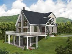 062H-0291: Two-Story Mountain House Plan Cabin House Plans, Mountain House Plans, Best House Plans, Story Mountain, Four Bedroom House Plans, Dream House Plans, Dream Houses, Open Family Room, Walkout Basement