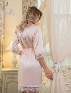 Buy Bridal Nightgown Ema Bride with delivery . Bridal Nightgown, Bridal Robes, Tulle Shop, Gold Bridesmaid Dresses, Bridesmaids, Lace Kimono, Lace Inset, Beautiful Bride, Beautiful Lingerie