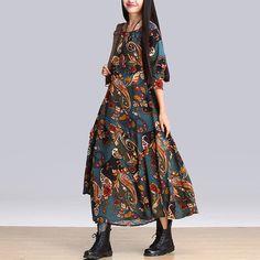 Shift Dresses – Stitching loose printing long-sleeved cotton dress, maxi dress, boho style, folk pattern – a unique product by BlueFashionSky via en.dawanda.com