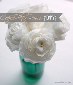 Easy DIY Coffee Filter Roses. requires coffee filters of course, and skewers, and hot glue gun. this is doable!