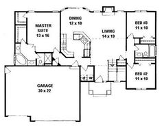 I like the open floor plan. I'd like a deck across the back. & bedroom could be the lock-out unit. This inviting ranch style home with a small footprint (House Plan has over 1460 sq ft of living space. The one story floor plan includes 3 bedrooms. House Plans One Story, Ranch House Plans, Best House Plans, Bedroom House Plans, Modern House Plans, Small House Plans, House Floor Plans, Story House, 1500 Sq Ft House