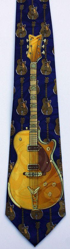 New Gold Electric Guitar Mens Necktie Musical Instrument Guitars Music Neck Tie #StevenHarris #NeckTie