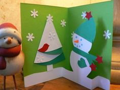 Christmas Snow Pop-up Card - I like the way this card pops up from a strip at the bottom, and the folded tree adds a little more 3D.