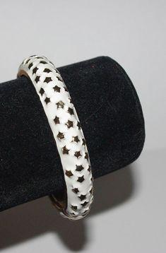 KJL Bangle Bracelet - White Enamel with Gold Stars - S2473