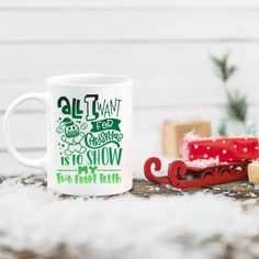 Funny Christmas Mug, All I want is to Show my two front teeth, stocking stuffer holiday decor gifts, Christmas gift for moms, pandemic mug Christmas Gifts For Mom, Christmas Mugs, Christmas Quotes, Funny Christmas, Holiday Fun, Holiday Decor, Funny Coffee Mugs, Coffee Humor, Funny Mugs