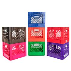 Colored Vented Dairy Crates Milk Crates, Play Yard, Plastic Containers, How To Look Better, Decorative Boxes, Dairy, Color, Garden, Garten