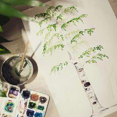 the tree with eyes - (berkenboom) illustratie van vera vos