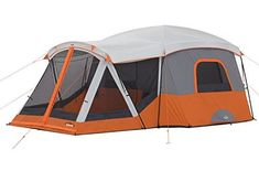 Core 11 Person Cabin Tent With Screen Room is a completely new 2017 luxurious yet affordable family camping tent with 204 sq ft m²). Camping World, Camping Life, Camping With Kids, Family Camping, Tent Camping, Camping Outdoors, Lantern Hooks, Tent Poles, Tents