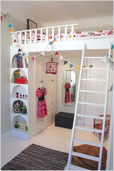 loft beds with closet underneath | Loft Bed with Cupboard and Shelves