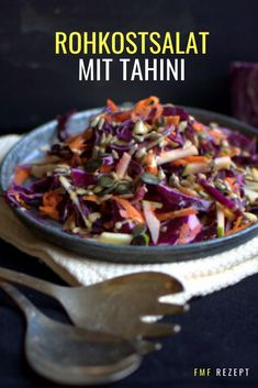 Low Calorie Vegetarian Recipes, Vegan Recipes, Colorful Vegetables, Veggies, Raw Vegetable Salad, Tahini Pasta, Homemade Tahini, Lemon Tahini Dressing, Salads