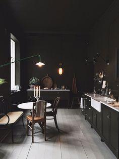 how to use colour in a minimalist home, dark green kitchen walls, Artilleriet Copenhagen