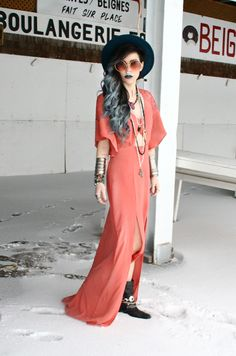 Bohemian peach dress with lots of jewellery x
