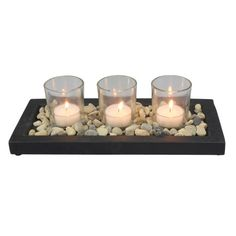 Mainstays Stone Tea Light Candle Garden with 3 Glass Tea Light Candle Holders Image 3 of 4 Coffee Table Candles, Candle Tray, Tealight Candle Holders, Tea Light Candles, Tea Lights, Dining Room Table Centerpieces, Candle Centerpieces, Bathroom Candles, Living Room Candles