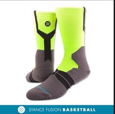 """MENS STANCE SOCKS -""""OVERTIME GRIP"""" -Fusion Basketball -TRINITY TECH. -L/XLG #Stance #Casual"""