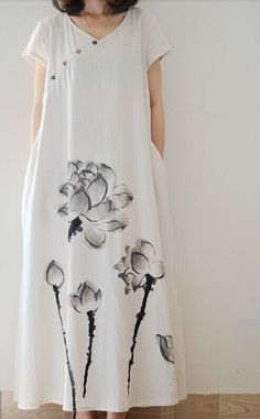 Women loose fit over plus size ethic lily flower linen dress maxi long tunic #Unbranded #dress #Casual