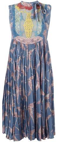 Bird Print Lace Panel Pleated Dress