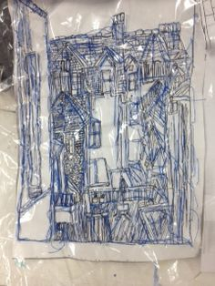 27/11/15.  I photocopied my drawings and placed them underneath the plastic . I found that this way was easier to follow as there are many different lines. I then hand sewed over the top with a blue thread as I associated this colour with St Ives landscape .