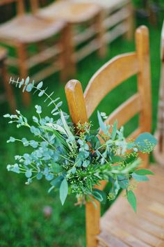 Simple, fresh greenery on the ceremony aisle at this rustic, tastefully boho outdoor wedding. Ceremony Backdrop, Ceremony Decorations, Flower Decorations, Wedding Backdrops, Outdoor Ceremony, Church Wedding Flowers, Aisle Flowers, Simple Church Wedding, Wedding Chairs