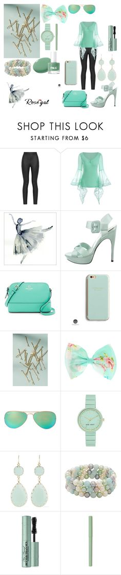"""""""Frozen Mint"""" by giulia-ostara-re ❤ liked on Polyvore featuring Armani Jeans, Roger Vivier, Kate Spade, Anthropologie, Ray-Ban, Nine West, Kenneth Jay Lane, Honora and Too Faced Cosmetics"""