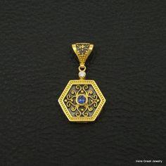 SAPPHIRE CZ BYZANTINE 925 STERLING SILVER 22K GOLD & RHODIUM PLATED PENDANT #IreneGreekJewelry #Pendant